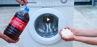 VIDEO – A pus Cola si Mentos in masina de spalat si a pornit programul de centrifugare – Experiment